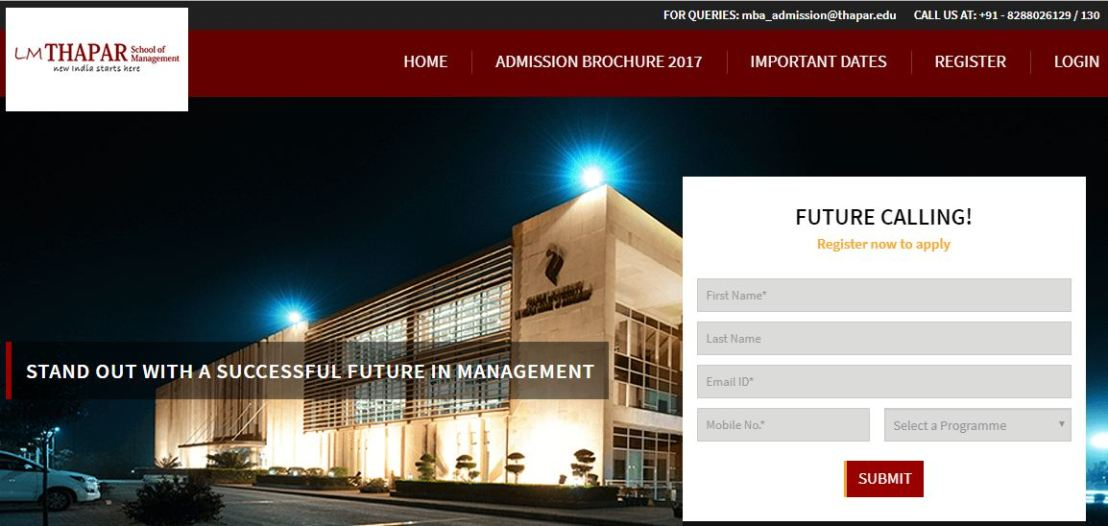 MBA Application Form 2018 – LM ThaparUniversity